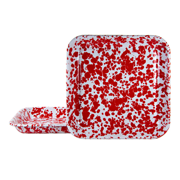 RD09S2 - Red Swirl - Set of 2 - Enamelware 10.5 Inch Square Trays by Golden Rabbit