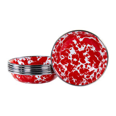 RD59S6 - Set of 6 Red Swirl Tasting Dishes Image 1
