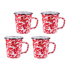 RD66S4 - Set of 4 Red Swirl Latte Mugs Image 1