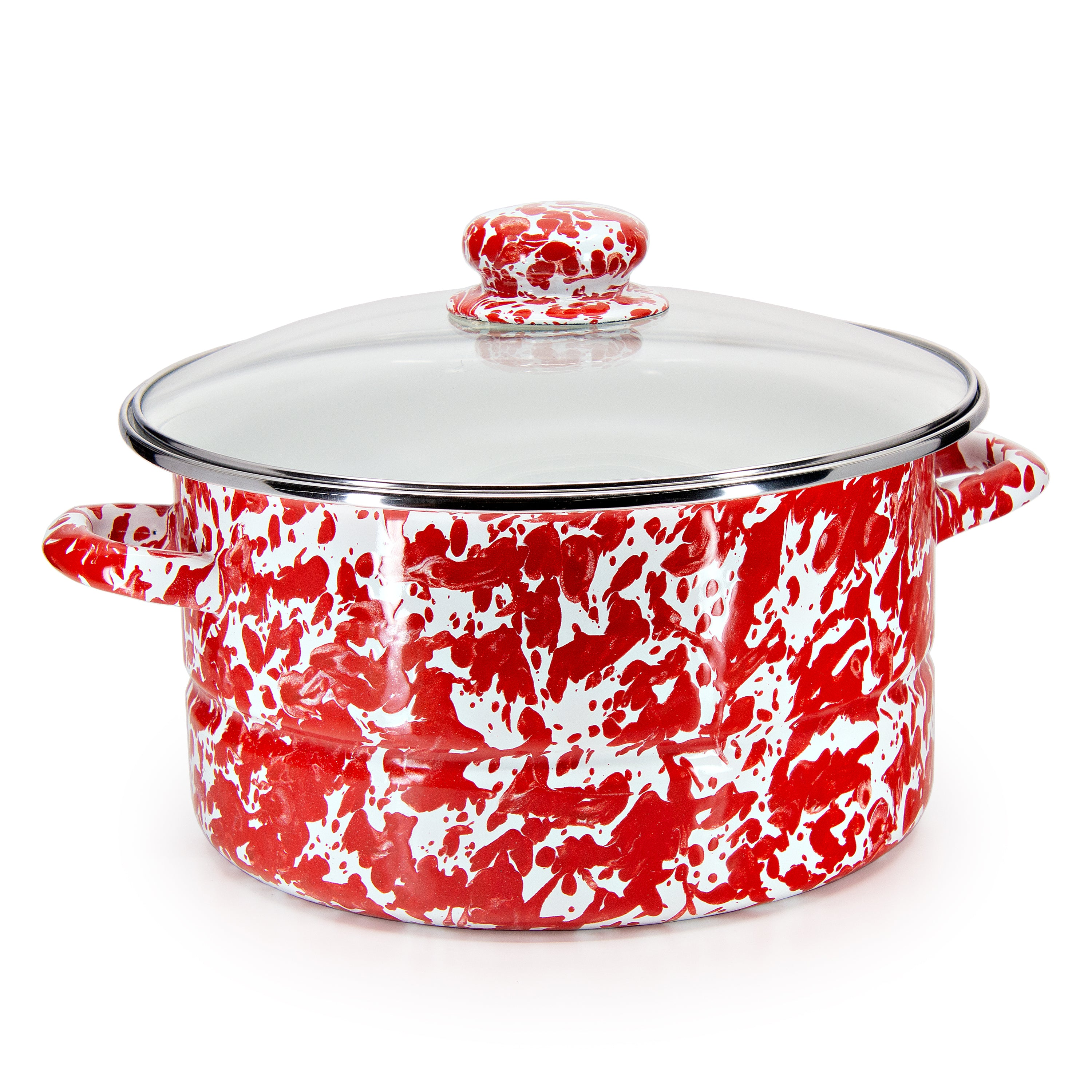 RD72 - Red Swirl Pattern - 6qt Stock Pot