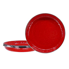 RR04S4 - Set of 4 Solid Red Pasta Plates Image 1