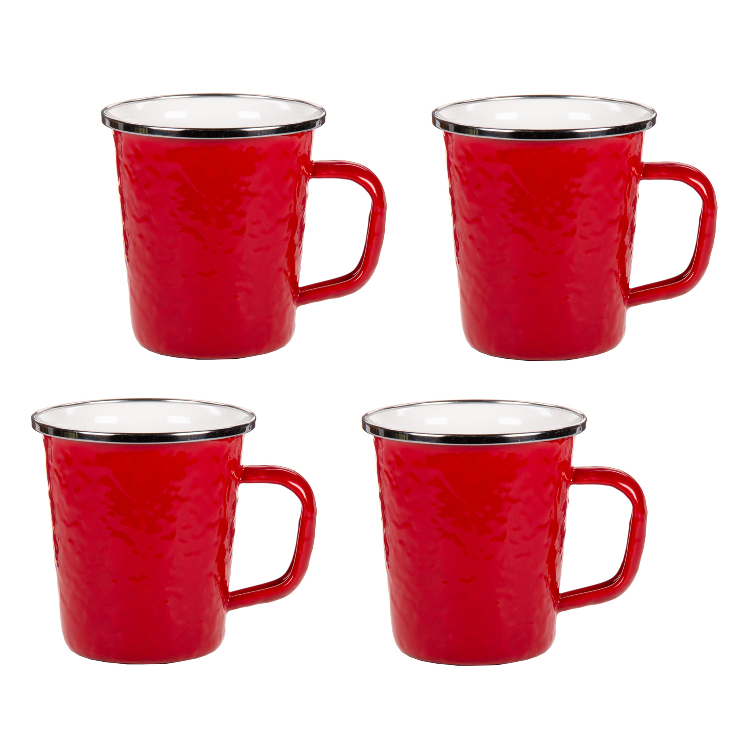 RR66S4 - Set of 4 Solid Red Latte Mugs Image 1