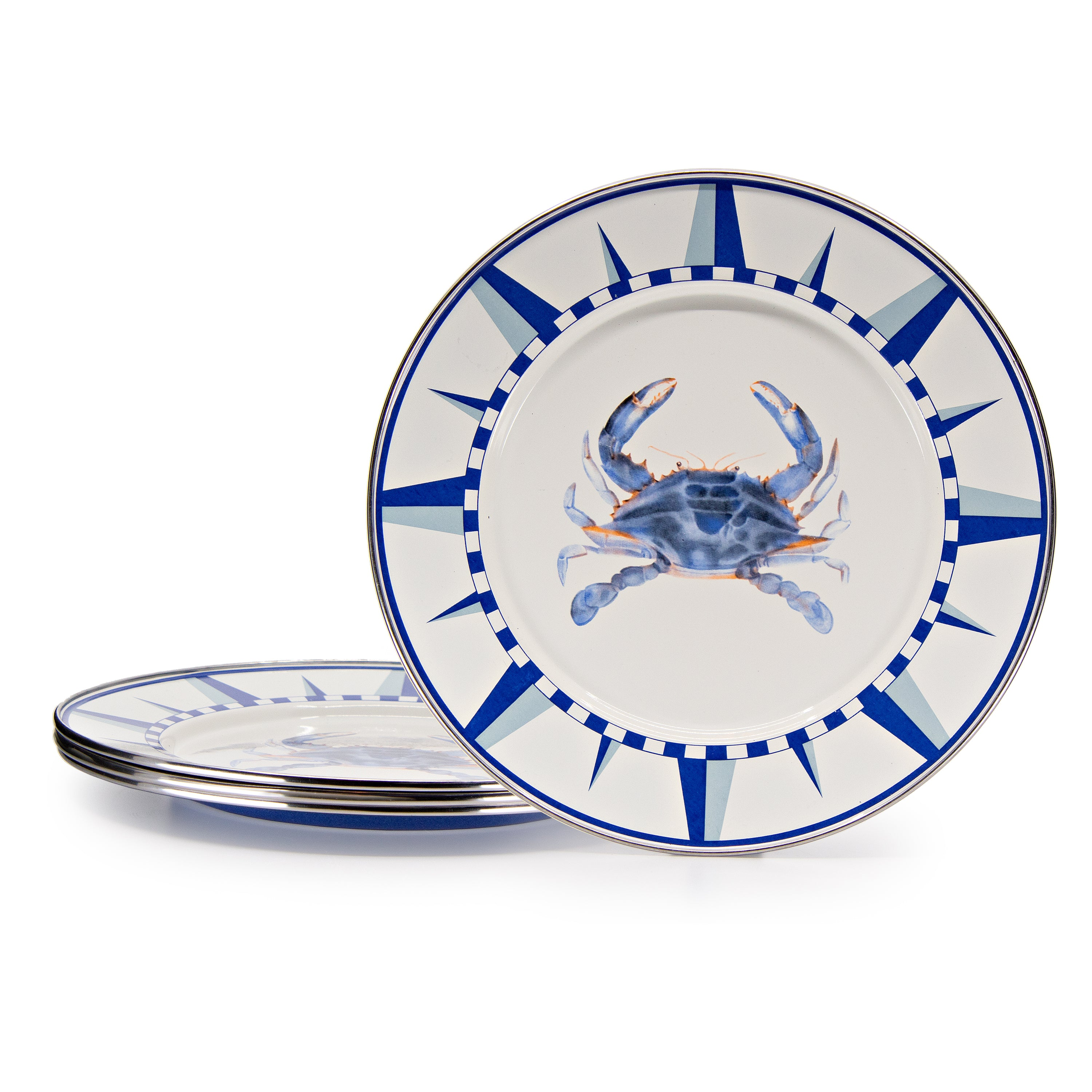 SE07S4 - Set of 4 Blue Crab Dinner Plates Image 1