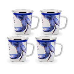 SE66S4 - Set of 4 Blue Crab Latte Mugs Image 1