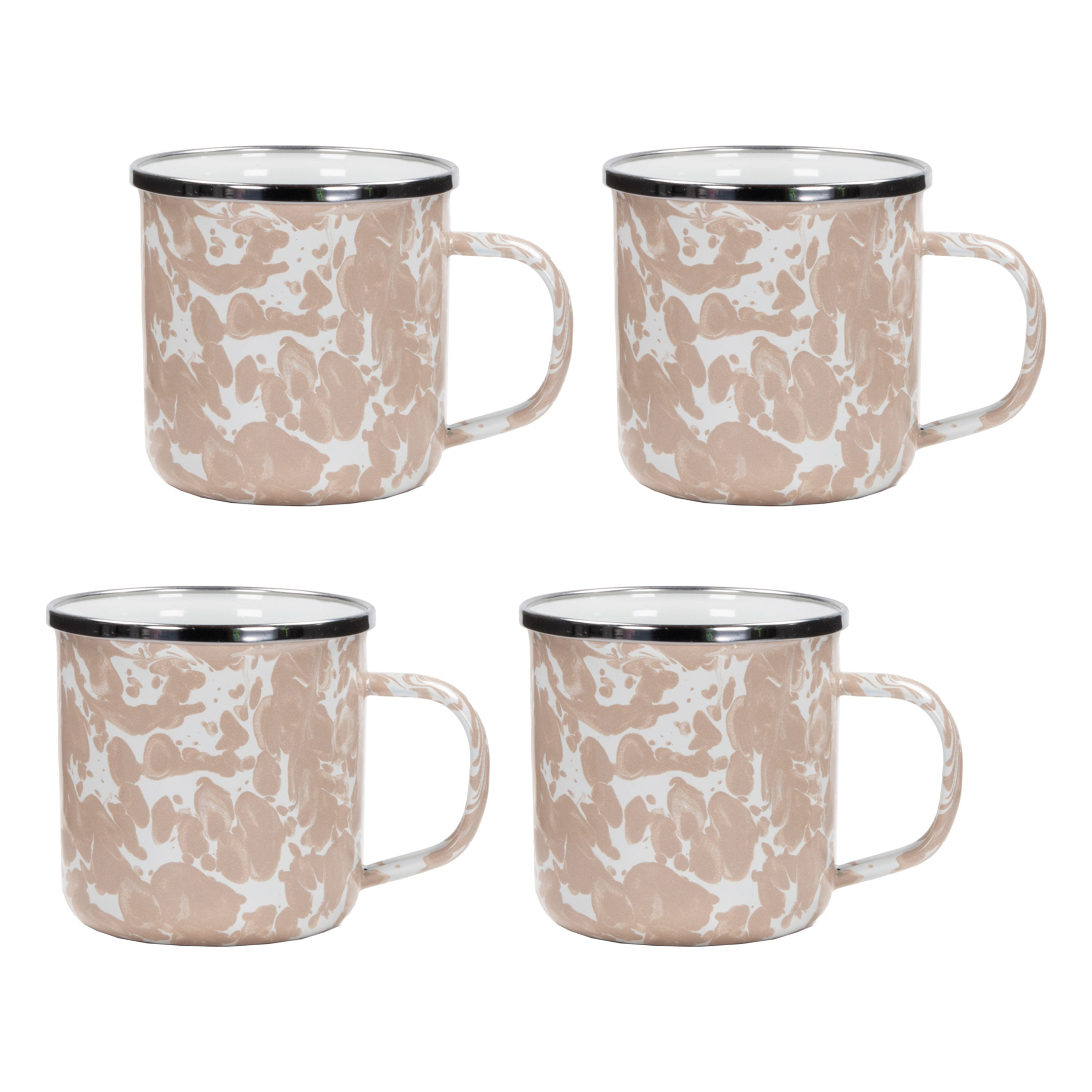 TP05S4 - Set of 4 Taupe Swirl Adult Mugs Image 1