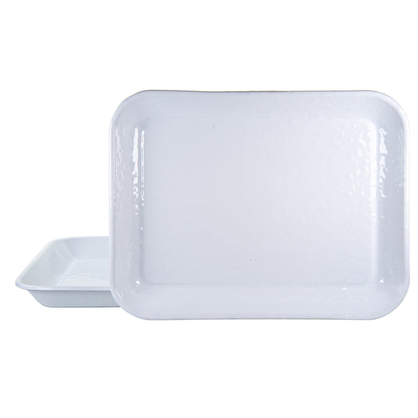 WW58S2 - Set of 2 - Solid White Texture -  10x13 Quarter Sheet Trays by Golden Rabbit