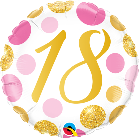 18th Birthday Pink/Gold Foil Balloon