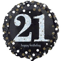 21st Birthday Black/Gold Foil Balloon
