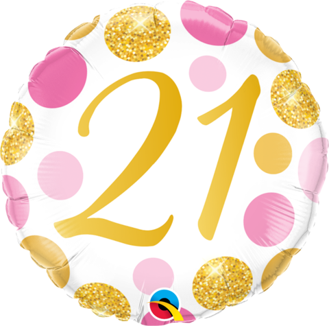 21st Birthday Pink/Gold Foil Balloon