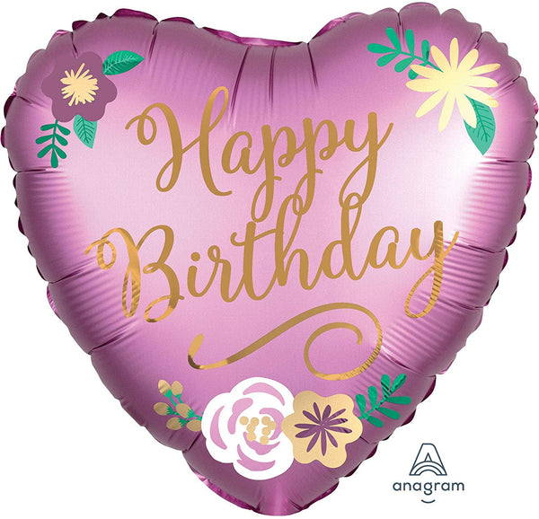 Happy Birthday Love Heart Foil Balloon