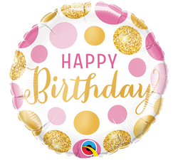 Happy Birthday Gold & Pink Foil Balloon