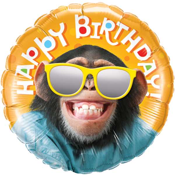 Happy Birthday Monkey Foil Balloon