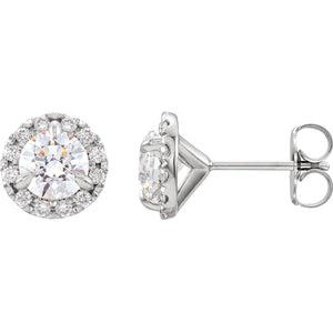 1.25 Carat Diamond Halo Stud Earrings