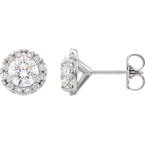 1/2 Carat Diamond Halo Stud Earrings