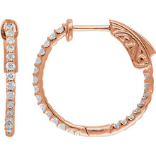 Load image into Gallery viewer, 1/2 Carat Inside/Outside Diamond Hoop Earrings