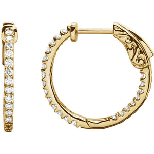 1/2 Carat Inside/Outside Diamond Hoop Earrings