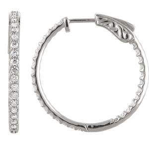 1 Carat Inside/Outside Diamond Hoop Earrings
