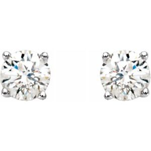 14k Solitaire Diamond Stud Earrings
