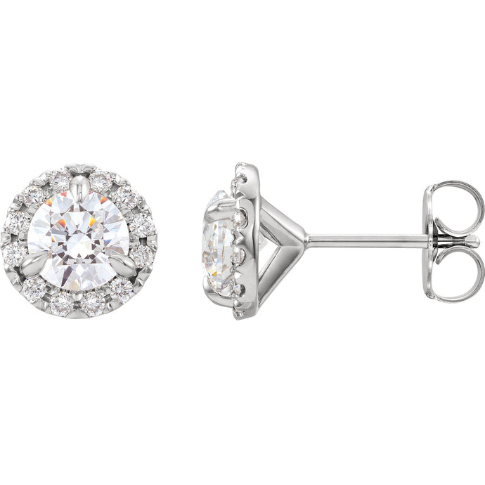 2 Carat Diamond Halo Stud Earrings