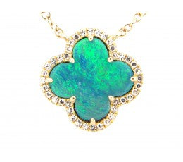 Black Opal Clover and Diamond Necklace