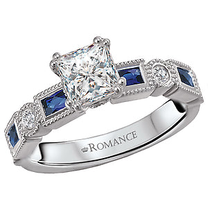 Romance Sapphire and Diamond Semi Mount