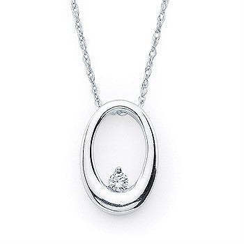 Ostbye 14KWG Diamond Oval Necklace