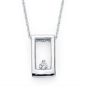 Ostbye 14KWG Rectangle Diamond Pendant