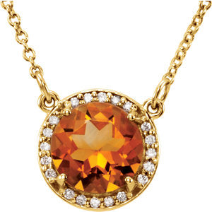 Diamond Halo Necklace with Citrine