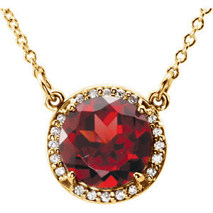 Diamond Halo Necklace with Garnet