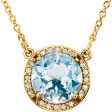Load image into Gallery viewer, Diamond Halo Necklace with Sky Blue Topaz