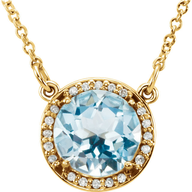 Diamond Halo Necklace with Sky Blue Topaz