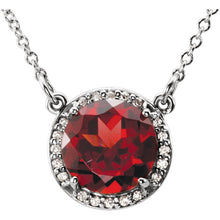 Load image into Gallery viewer, Diamond Halo Necklace with Garnet