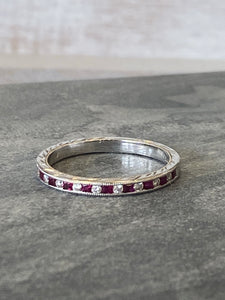 Estate Ruby/Diamond Milgrain Band