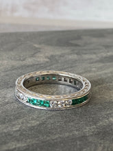 Load image into Gallery viewer, Estate Emerald/Diamond Eternity Band