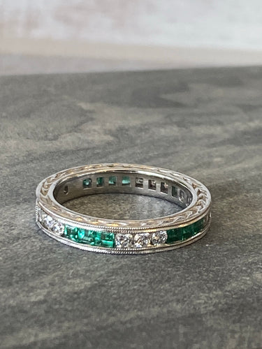 Estate Emerald/Diamond Eternity Band