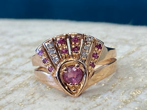 Vintage Pink Sapphire and diamond ring