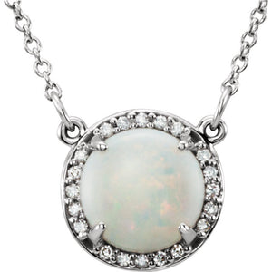 Diamond Halo Necklace with Opal