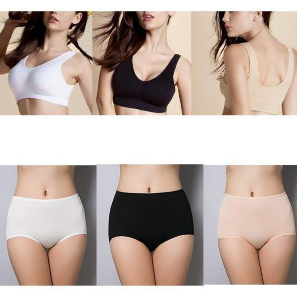 *2018 Hot Selling TV Products* Comfortable Seamless Wireless Bra Sale (3pcs/set)-Clothes & Accessories-unishouse.com-BLACK/WHITE/BEIGE Bra + Underwear-M-Unishouse.com