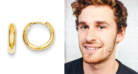 Our model Riley next to an image of our 12 millimeter huggie hoops in the 12 millimeter diameter