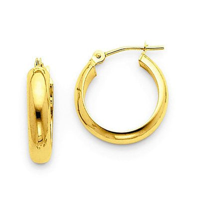 14k Yellow Gold Flat Interior Hoop Earrings