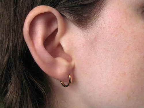 14k Rose Gold Hidden Post Hinged Huggie Hoop Earrings 0