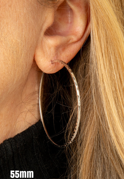14K White Gold Diamond Cut Square Tube Continuous Endless Hoop Earrings (1.35mm), All Sizes - LooptyHoops