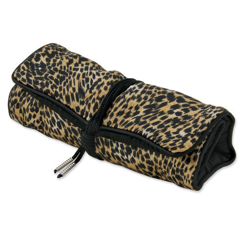 Cheetah Print Jewelry Roll with Black Trim, 10
