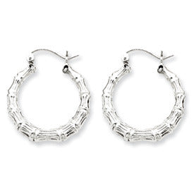 Sterling Silver Bamboo Hoop Earrings with Click-Down Clasps