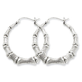 Sterling Silver Bamboo Hoop Earrings, All Sizes