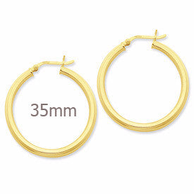 Gold-Flashed Sterling Silver Grooved Hoop Earrings (3mm), All Sizes