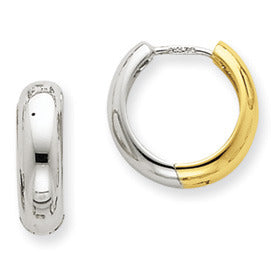 Two Tone 14K Gold Turkish Hinged Huggie Hoop Earrings, 0.4 inch (11mm) - LooptyHoops