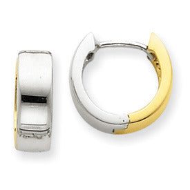 Two Tone 14K Gold Hinged Huggie Hoop Earrings