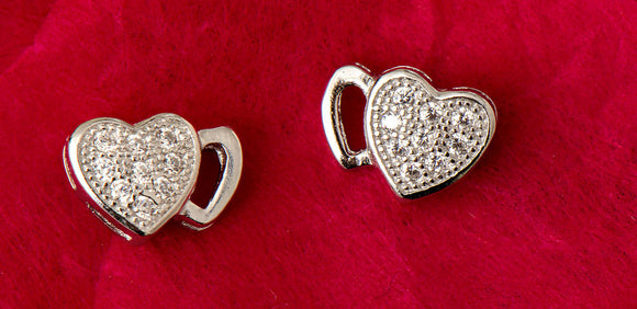 Sterling Silver Cubic Zirconia Textured Double Heart Stud Earrings