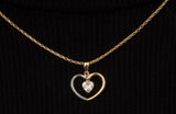 14k Yellow and White Gold CZ Heart Pendant - LooptyHoops
